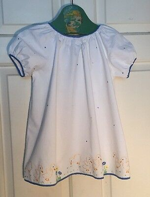 Sweet Vintage 1930s 1940s Hand Embroidered Child's Baby Dress Nightdress Duck