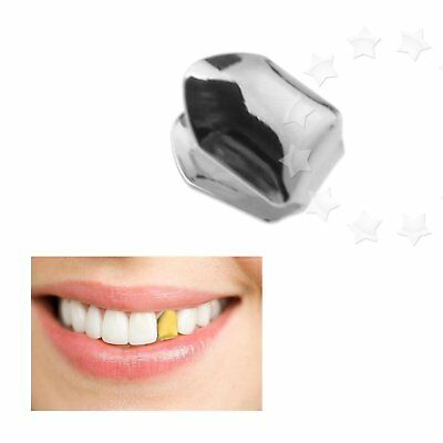 Silver Single Tooth Clip Mouth Teeth Cap Grills Bling Hip Hop Party Gangsta