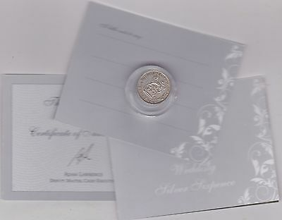 Boxed Lucky Wedding 1926 Silver Sixpence In Very Fine Condition