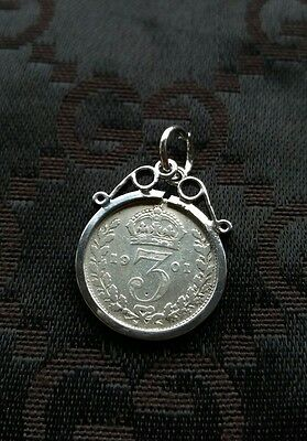 Victorian Silver Threepence 1901 Coin Pendant Watch Chain Fob Scroll Charm C109