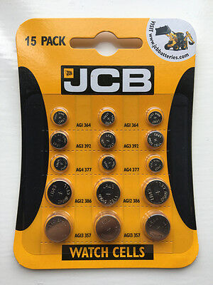 JCB Watch Batteries - 15 Mixed Pack - 5 Most Popular Sizes NEW SEALED UK