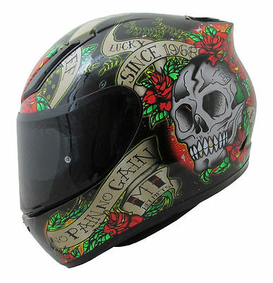 MT Revenge SKULL & ROSES Full Face Motorcycle Sport Helmet  Red / BLACK