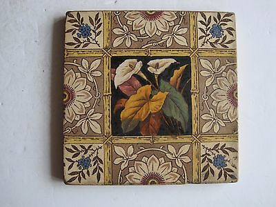 Antique Victorian Print & Tint Wall Tile  - Arum Lillies With Bamboo Trellis