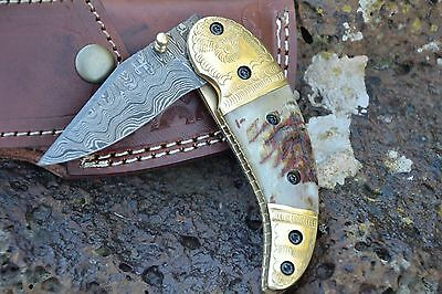 "HUNTEX Handmade Damascus 4.3"" Ram Horn Hunting Folding Pocket Knife"