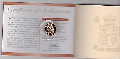 2001 Boxed Proof Gold Half Sovereign With Certificate