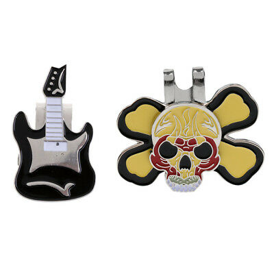 Magnetic Guitar Hat Clip Golf Ball Marker With Skull Cap Clip Ball Marker