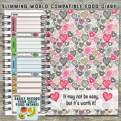 food diary diet slimming world compatible tracker journal notebook log Hearts 11