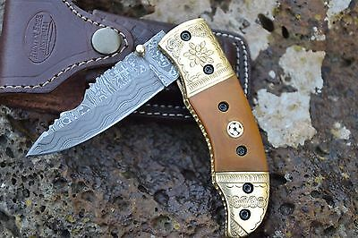 "HUNTEX Handmade Damascus Engraved Brass 4.5"" Long Hunting Skinning Pocket Knife"