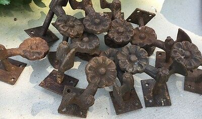 12 Antique Shutter Dogs Cast Iron Decorative Flower LOT