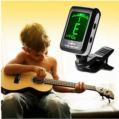 LCD Clip-on Electronic Guitar Tuner Digital Chromatic for Bass Violin Ukulele UK