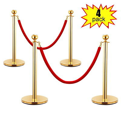 4PCS Velvet Rope Stanchion Gold Post Crowd Control Queue Line Barrier