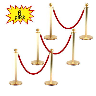 6 PCS Velvet Rope Stanchion Gold Post Crowd Control Queue Line Barrier