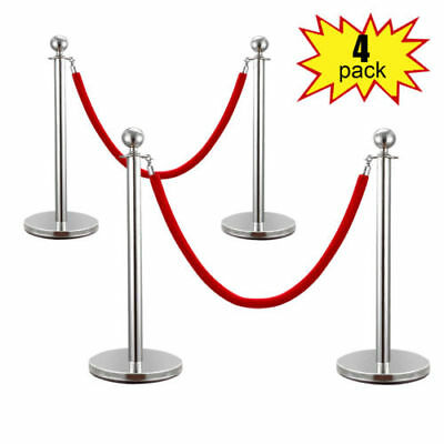 4PCS Velvet Rope Stanchion Silver Post Crowd Control Queue Line Barrier