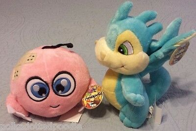 "NEOPETS New with tags Blue 8"" Scorchio & Pink Kiko stuffed animal  plush"