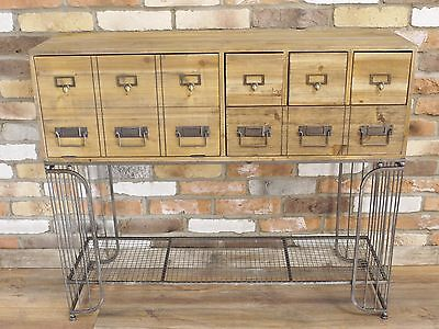 Antique Industrial Rustic Wood Metal Hall Cabinet Sideboard Storage Unit (D4561)