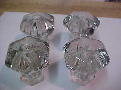 4 Matching Vintage Antique Fancy Glass  Drawer Pulls & Knobs