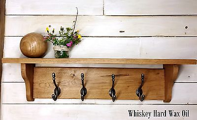 Solid Oak Coat Rack with Hat Shelf Rustic Country Cottage Cast Iron Hooks