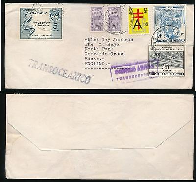 Colombia Unsealed Mail Transoceanico Handstamps 2 Different + Multi Franking