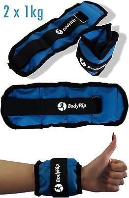 BODYRIP 2 x 1kg WRIST ANKLE ADJUSTABLE WEIGHTS WRAPS STRAPS FITNESS GYM EXERCISE