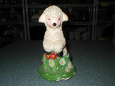 Vintage Chalkware Leaping Lamb 1940's Figure Collectible Colorful Flowers