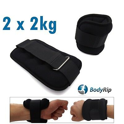 BodyRip Wrist Ankle Leg Hand Weights Wrap 2 x 2KG Fitness Strength Training Gym