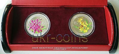 2008 Singapore Heritage Orchids 2-coin Silver 999 proof set $5 Flower Flora WWF