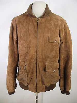 Men's Polo Country Ralph Lauren Full-Zip Suede Leather Jacket Size XL A5132