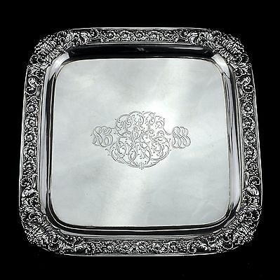 Rare Tiffany & Co. Solid Sterling Silver Chrysanthemum Square Tray / Salver