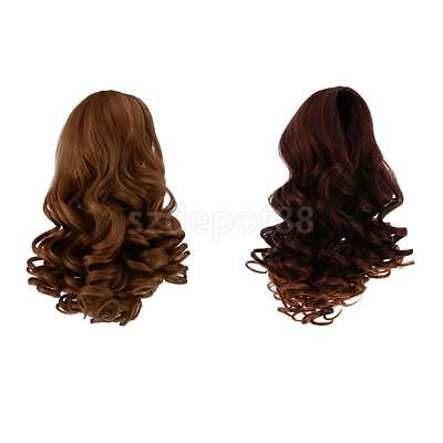 2pcs High-temperature Wire Deep Curly Wig Hair for 18'' American Girl Doll