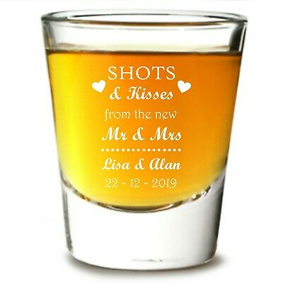 Personalised shots and kisses Shot Glass wedding favours party guest drink toast