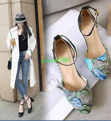 Ladies Womens Floral Ankle Strap Round Toe Mid Block Heel Cut out Party Shoes