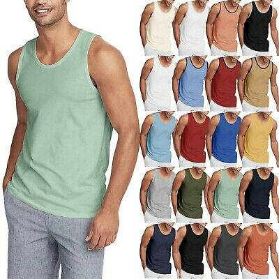 Mens TANK TOP Shirt Casual Basic Classic Gym Jersey Athletic Solid Beach Tee