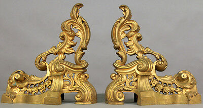 Pair of Louis XV Style Gilt Bronze Fire Ends