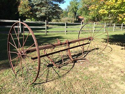 Really Nice Vintage Farm Implement Hay Rake Large Yard Decor From Estate