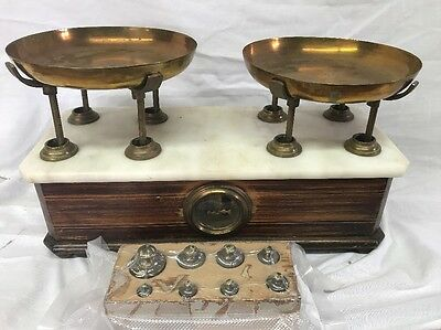 Antique P. Uno Chilog Apothecary Medical Pharmacist w/ Weights Balance Scale