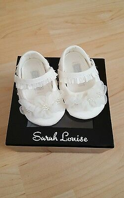 sarah louise ivory silk christening shoes baby girls 0 6 month's