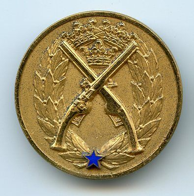 Sweden WWII 1942 Silver Military 1 Class Pistol Shooting Award Badge !!!