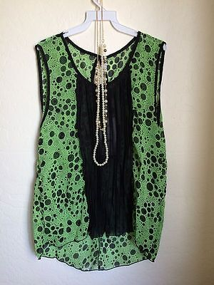 Green Black Sleeveless Necklace Blouse Top Pleated Size 3X
