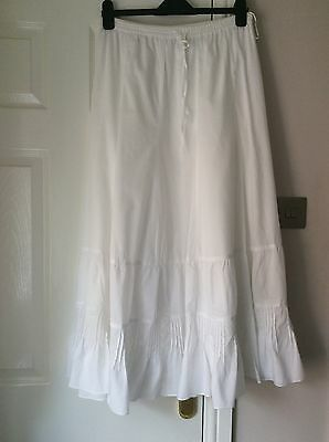 Lined Long White Cotton Skirt From Monsoon Size 14