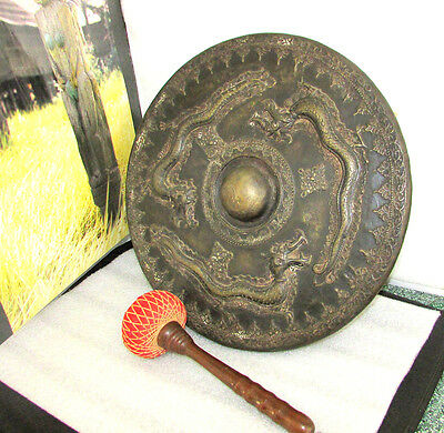 Antique Brass Bronze 3 Dragon Naja Gong Dayak Borneo Indonesia Circa 1880-1920