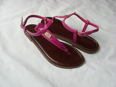 New Polo Ralph Lauren Big Girls Gala Pink Faux Leather Sandals Thong Shoes Sz 1