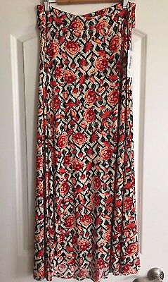 NWT - LuLaRoe Maxi Skirt - Small - Black White Red Floral Roses