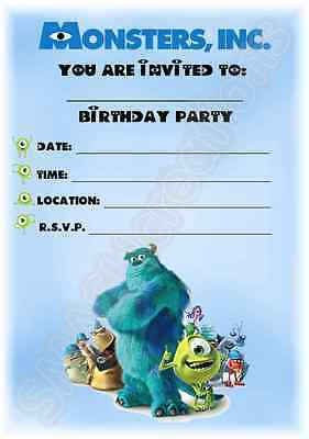 A5 Disney Pixar Childrens Party Invitations X 12 - Monsters Inc Invites