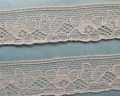 Vintage Fabric Lace Cotton Old Soft Pink/Beige Color  French