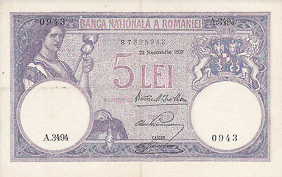 """Rare Romania 5 Lei 22 Noembrie 1928 Banknote """"a"""" Series"""