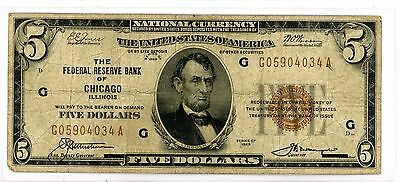 1929 $5 National Currency Note - Federal Reserve Bank of Chicago 034A
