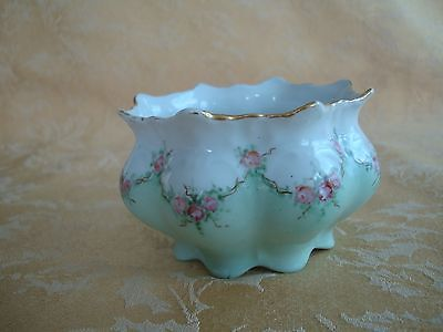 Antique M & Z Austria Green & White With Pink Roses Scalloped Bowl Ca.1888-1909