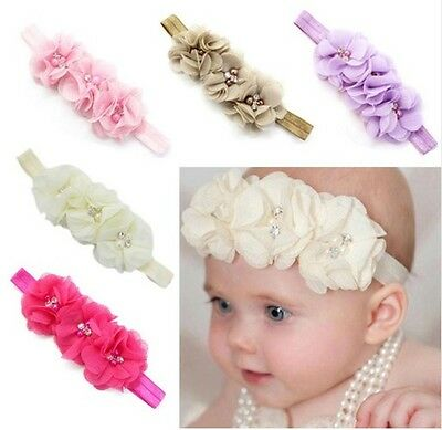 5 Child Girl Baby Toddler Flower elastic Headband Hair Accessories 5 piece Lot