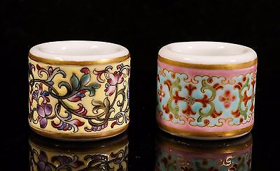 Two Chinese Famille Rose Porcelain Thumb Rings
