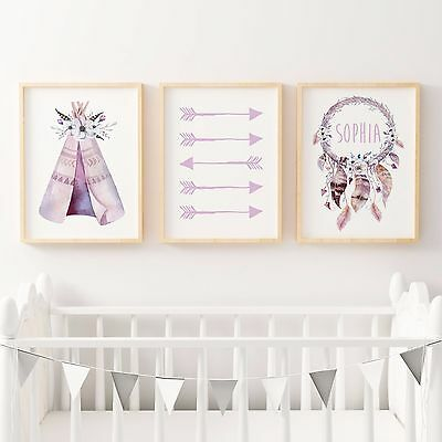 Set of 3 Nursery Bedroom Decor Wall Art Print- Baby Girl-BOHO TRIBAL WATERCOLOUR